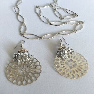 Oval link Sterling necklace with mesh earrings